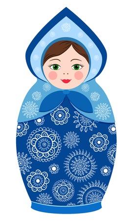 matroushka: Russian tradition matryoshka dolls in kokoshnik in vector Illustration