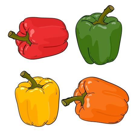 verduras verdes: Pimientos Set colorfull vector