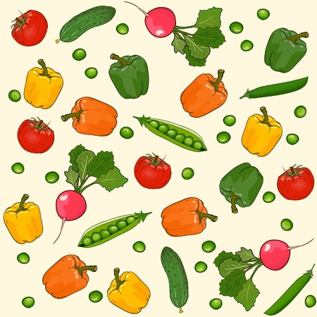 Vegetables seamless wallpaper vector pattern, vegetarian food Vector