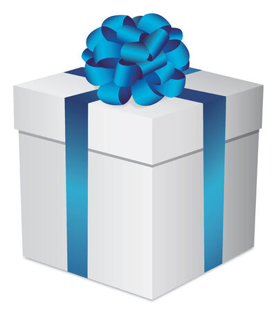 Set white gift boxes with a blue bow on white background Vector