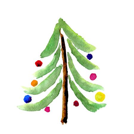 Christmas card with tree isolated on white. Vector image Vettoriali