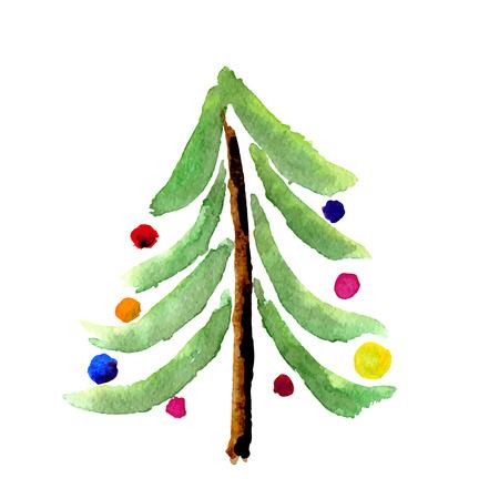 Kerstkaart met een boom geïsoleerd op wit. Beeldvector Stock Illustratie