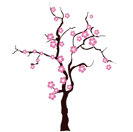 Card with stylized cherry blossom, vector image for design