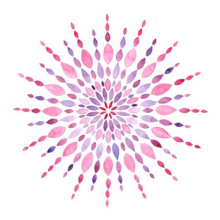 Watercolor mandala isolated on white, vector illustration