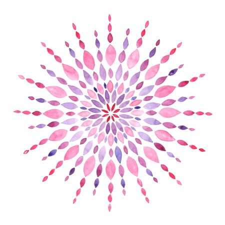 sacred: Watercolor mandala isolated on white, vector illustration