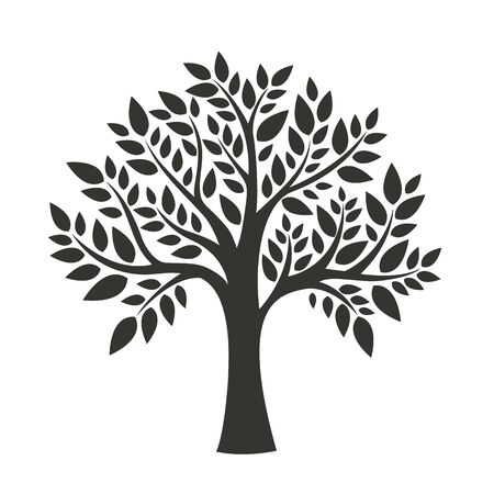 Black tree isolated on white background. Vector illustration