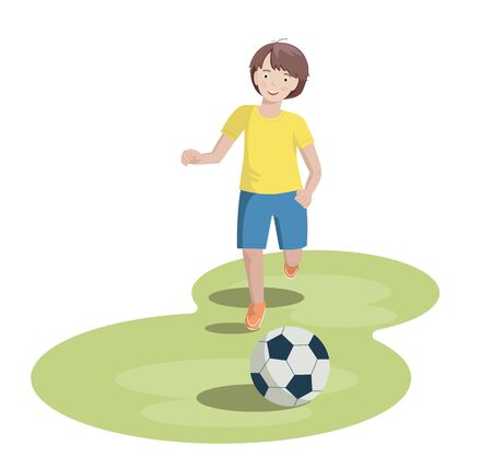 boy runs on the lawn to the ball. vector illustration