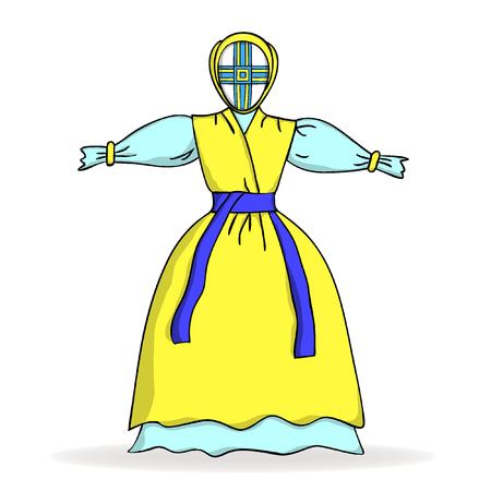 ukrainian: Traditional Ukrainian yellow-blue doll.