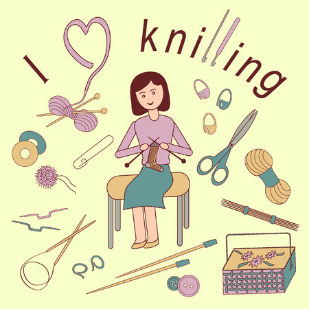 knitting needles: Flat illustration of a woman loves knitting. Accessories for crafts: knitting needles, crochet hooks, yarn, pins, buttons, scissors, basket for needlework.