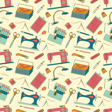 textile machine: Seamless pattern of sewing tools icons. Sewing machines, overlock machine, sewing implements and accessories. Background for use in design, web site, packing, textile, fabric. illustration.