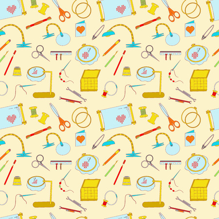 Frame for embroidery, scissors, organizer, spool, a magnifying glass and other accessories. Collected in a Seamless pattern for use in design, web site, packaging, textiles, wallpaper.
