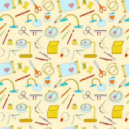Nahtlose Muster Von Nähwerkzeugen Symbole. Nähmaschinen, Overlock ...