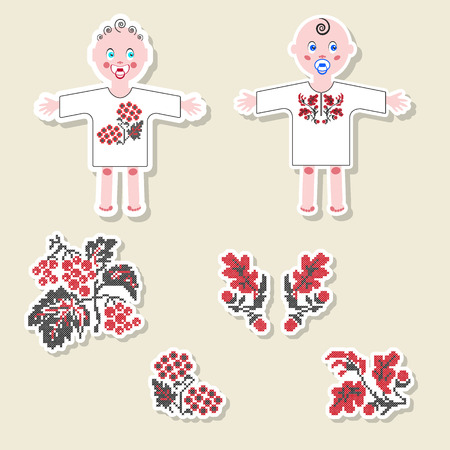 new born baby girl: Vector set of design element, badge, label, icon, decoration and scrapbook object. Ukrainian traditional New born Baby elements. Boy and girl dressed in ethnic embroidery shirt. Embroidered oak and viburnum.