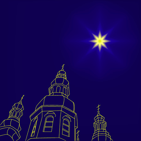 christmas church: Christian christmas church with a Christmas star, star of Bethlehem in the night sky. Vector illustration. Can be used for design, greeting card, invitation, sign, banner. Illustration