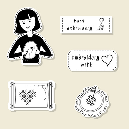 embroider: Vector set of design element, badge, label, icon, decoration and scrapbook object. Hand embroidery, handmade theme. Embroider girl, hoop, frame, crosses, stitches.