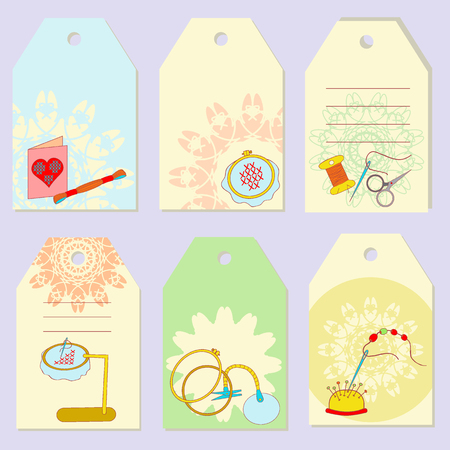fancywork: Set creative gift tags. Stock vector set of embroidery device, equipment for fancywork. It can be used for planning, invitation, design Illustration