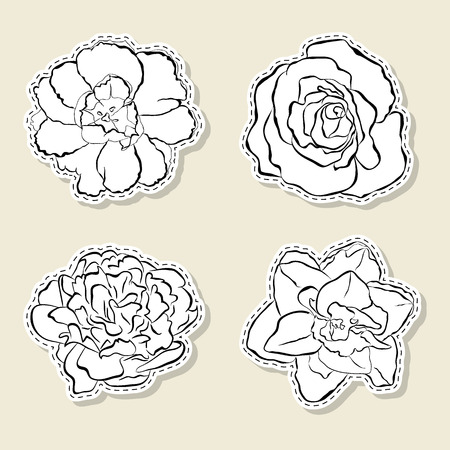 peony black: Vector set of design element, badge, label, icon, decoration and scrapbook object. Black contour on white background. You can paint. Flowers, tulip, rose, peony, narcissus