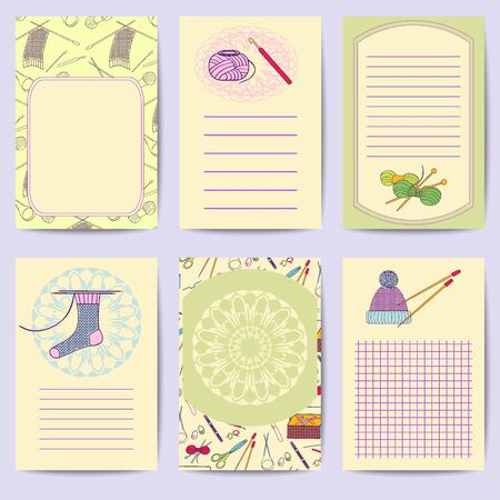 Set printable journal cards. Bright collection with knitting tools. Stock vector illustrations of knitting objects, handicraft, hand made. It can be used for planning, poster, scrapbook