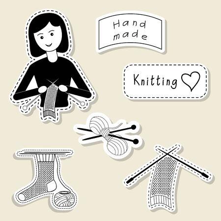 knitting needles: Vector set of design element, badge, label, icon, decoration and scrapbook object. Knitting, yarn, handmade theme. Knitting, crochet, knitt girl, yarn, knitting needles, sock, scarf.
