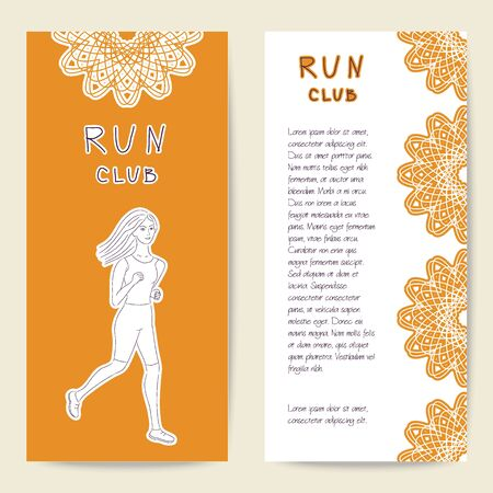 Cards sport template for run club, sports club and fitness. Beautiful girl running. Vector illustration with front and back side. Set of template for poster, flyer, banner, magazine, presentation.