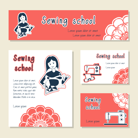 seamstress: Vector set of cards template for sewing school, tailor shop, shop sewing machines. Flat icon sewing girl seamstress. Set of template for business card, banner, poster, magazine, presentation. Illustration