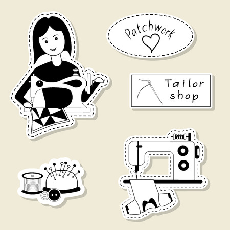 seamstress: Vector set of design element, badge, label, icon, decoration and scrapbook object. Sewing, tailoring, handmade theme. Seamstress, tailor, sewing girl, sewing machine, needle bar, pin, button.