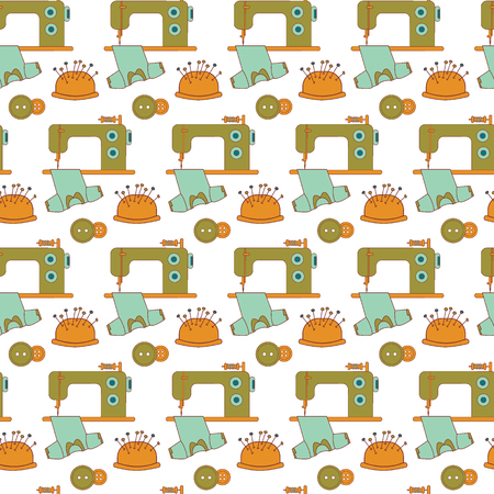 textile machine: Seamless pattern of sewing tools icons. The sewing machine and tailor accessories.Green, blue and orange on white.  Background for use in design, web site, packing, textile. Vector illustration. Illustration