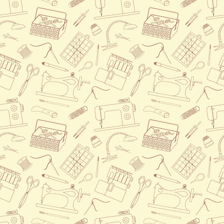 textile machine: Seamless pattern of sewing tools icons. Sewing machines, overlock machine, sewing implements and accessories. Background for use in design, web site, packing, textile, fabric. Vector illustration.