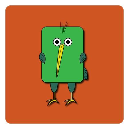 rounded rectangle: Flat bird design isolated on color background. Rounded rectangle green kiwi bird. Funny cartoon bird.