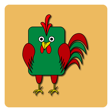 rounded rectangle: Flat bird design isolated on color background. Rounded rectangle green and red rooster cock. Funny cartoon bird. Illustration