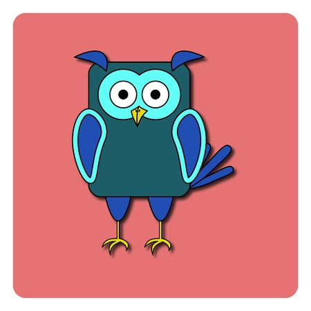 rounded rectangle: Flat bird design isolated on color background. Rounded rectangle blue night-bird owl. Funny cartoon bird.
