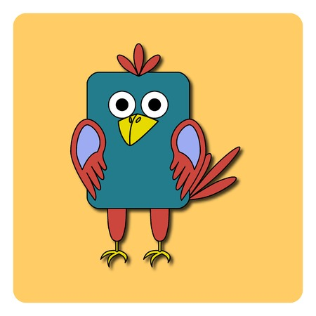 rounded rectangle: Flat bird design isolated on color background. Rounded rectangle blue and pink crow, rook, jackdaw, magpie. Funny cartoon bird.