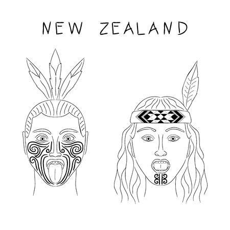 militant: New Zealand Maori tribe a man and a woman. Traditional tattoos ta moko and hats, feathers. Militant grmasy on their faces. Vector isolated cartoon illustration. Black contour.
