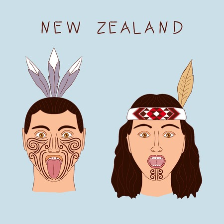 New Zealand Maori tribe a man and a woman. Traditional tattoos ta moko and hats, feathers. Militant grmasy on their faces. Vector isolated cartoon illustration.