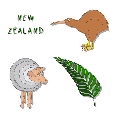 New Zealand symbols. A set of cartoon colored icons Kiwi bird, a sheep, a silver fern branch. Vector illustration drawn by hand. It can be used for printing, logos, buttons, cards. Illustration