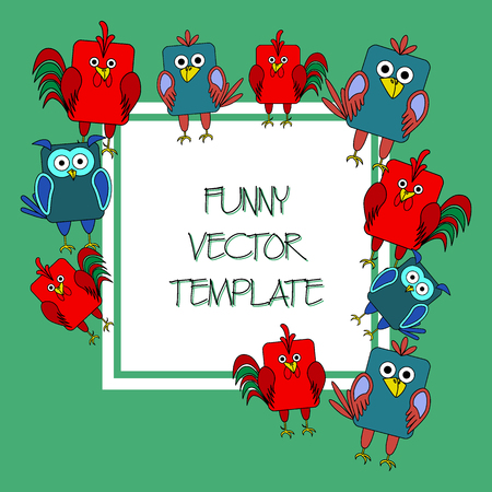rounded rectangle: Stock vector card template for childrens birthday party. Flat bird design. Rounded rectangle rooster, cock, owl, crow. Template for poster, banner, greeting card, invitation. Vector illustration Illustration