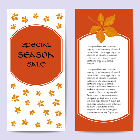 fall of the leafs: Stock vector cards template for for autumn sale. White and orange background. Fall leafs. You can place your text in the center. Template for poster, banner, greeting card, invitation. Illustration