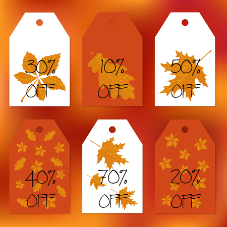 caes: Set gift tags. Stock vector set for autumn sale. Abstract blurred orange background. Fall leafs. Text of percent discounts. You can place your text in the center. Congratulation, invitation, design cards.