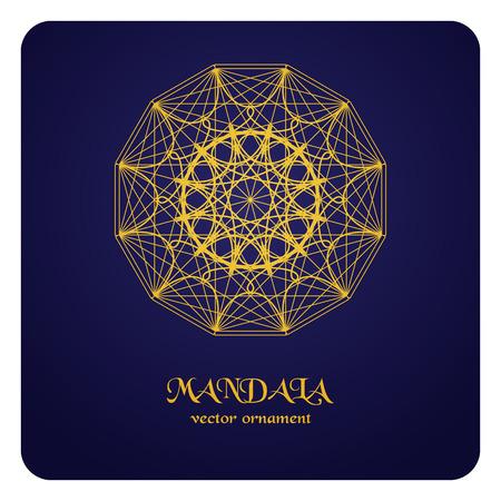 emplate: Round ornament pattern. Geometric template. Mandala decorative element. Space motif. Vector circular Oriental symbol.