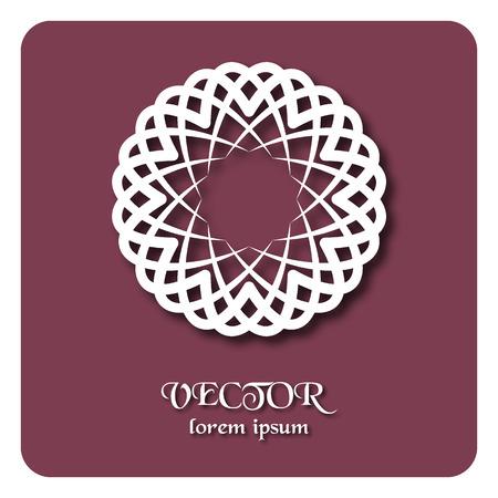 emplate: Round ornament pattern. Geometric template. Mandala decorative element. Islam, Arabic, Indian motif. Vector circular Oriental symbol. Illustration