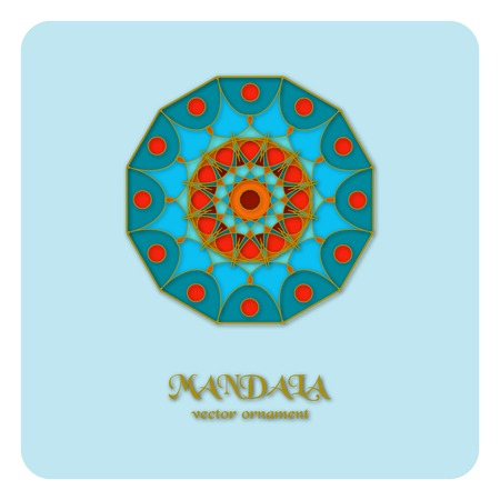 Round ornament pattern. Geometric template. Mandala decorative element. Islam, Arabic, Indian motif. Vector circular Oriental symbol. Illustration