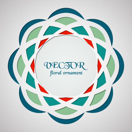 emplate: Round ornament pattern. Geometric template. Mandala decorative element cut from paper. Islam, Arabic, Indian motif. Vector circular Oriental symbol.