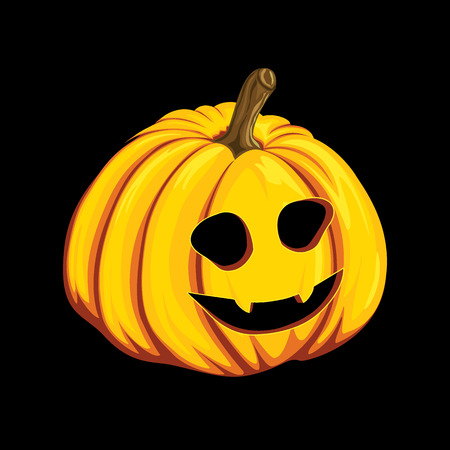 Halloween pumpkin icon in cartoon style. Jack o lantern object isolated on a black background.