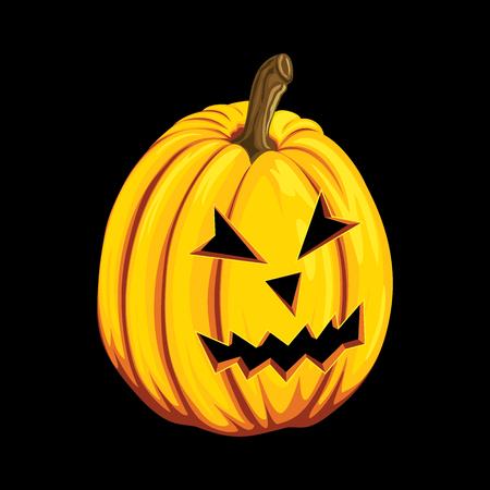 black jack: Halloween pumpkin icon in cartoon style. Jack o lantern object isolated on a black background.