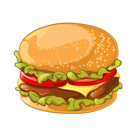 sesame seeds: illustration of burger isolated on white background. Ingredients: bun with sesame seeds, beef or chicken patty, cheese, lettuce, tomatoes. It can be used for your banner design, menus, signs, invitations.