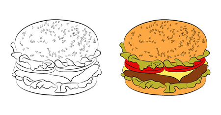 fashionably: Two versions of burgers: a black outline and painted flat icon. Hamburger with bun with sesame seeds, beef or chicken patty, cheese, lettuce, tomatoes.  illustration for your design isolated on white background. Illustration