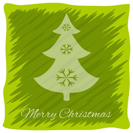 Christmas or New Years greeting card. Vector logo, emblem design. Bright green stripes painted carelessly. Transparent silhouette of a Christmas tree decorated with snowflakes. Usable for banners, greeting cards, gifts etc. Illustration