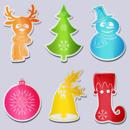 Vector Collection of Christmas symbols and characters for your design. A set of six icons: snowman wearing a scarf and hat, deer head, Christmas tree, Christmas ball, bell with leaves and berries of holly, stocking or boot elf.