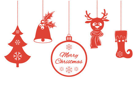 Various Christmas pendants such as a bell with holly, ball, fir-tree with snowflakes, a deer in scarf, stocking. Universal border, isolated on white background. Vector illustration. It can be used to design greeting card, banner, invitation, logo and stic