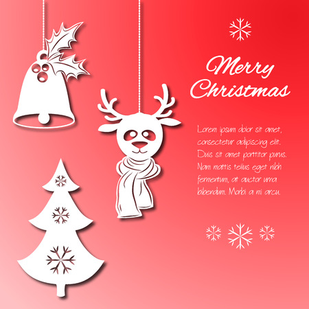cut paper: Various Christmas decorations such as a bell with holly, fir-tree with snowflakes, a deer in scarf. Objects looking cut paper isolated on the traditional red background. Vector illustration. It can be used to design greeting card, banner, invitation, logo